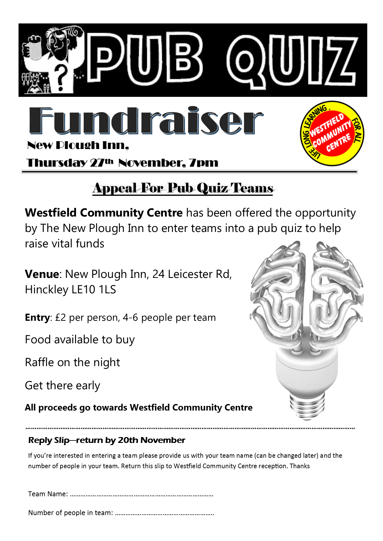 Westfield Pub Quiz Fundraiser   Westfield Community Centre